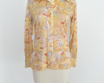 Vintage 1970s Blouse 70s Novelty Print Shirt Top Cars and Cityscape