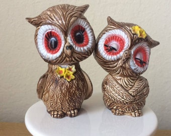 Vintage Hard Plastic Owl Salt and Pepper Shakers,Sweet and Shy Owl Shakers