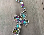 Beaded Cross Necklace/Long Necklace/Turquoise Cross