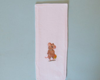 Mouse bookmark,  hand embroidered,  cotton kids bookmark,  mouse with basket, book buddy,  for little readers, textile art,  woodland animal