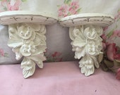Vintage shabby chic wall shelves -- Vintage sconce  - Paris Apartment - Set of Country French Shelves - Old World Style - Old White