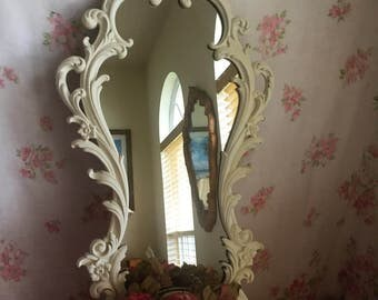 Large vintage Syroco Mirror with detachable brass planter - Painted Old white - Shabby Chic - Farmhouse Decor 36 x 17 Huge