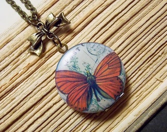 Orange Butterfly Locket