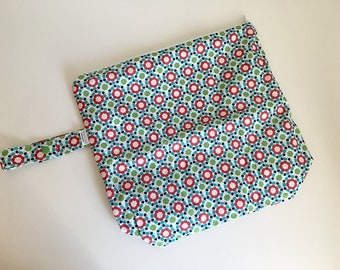 Wet /Dry Bag with Snap Handle - Waterproof Zipper Bag, Mod Floral