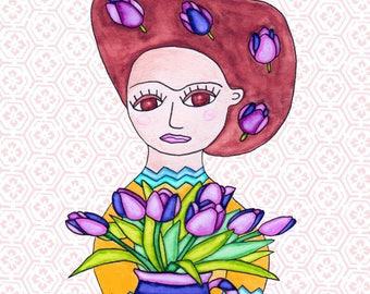 Painting / Art Print / Unique Gift / Parents Children Kids  / Nursery Baby Girl's Room / Frida Flower Girl Wedding Wall Art / Tulips