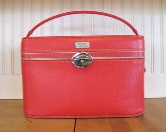 1960'S Amelia Earhart Red Vinyl Hard Train Case, Amelia Earhart, Train Case, Red, Vinyl, Suitcase, Small Suitcase, Hard, American Tourister