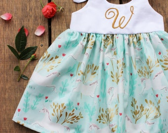 Unicorn dress, baby girls dress, birthday dress, blush gold mint, Michael miller unicorn dress, boho personalized coming home outfit