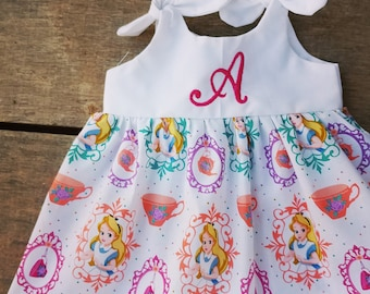 Alice in wonderland dress, girls monogrammed dress, birthday dress, personalized, Alice outfit, gift, Disney inspired dress, tea party,