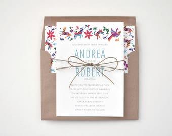 Beautiful Wedding Invitations - Otomi Print – Unique and Ornate Destination Wedding Invitation (Andrea Suite)