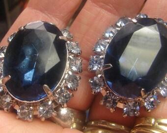 Beautiful Huge Sapphire Blue Rhinestone Clip Earrings 24 grms -30X25mm, 1411