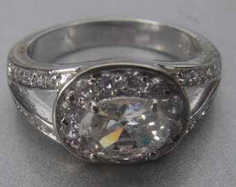 Oval CZ Coctail Ring Size 9- 365.