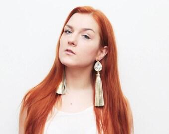 Oversized tassel earrings. Leather tassel earrings. Statement earrings. Tassel jewelry. Long tassels. Fringe earrings. Gemstones./MIRACLE 29