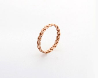 Rose gold ring band, Rose gold wedding band, Rose Gold wedding ring, Rose gold promise ring, Rose Gold Unique womens wedding band