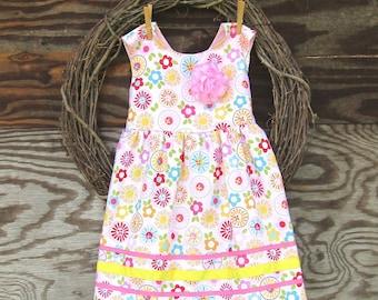 Girls Pink Dress, Girls Easter Dress, Flower Girl Dress, Girls Floral Dress