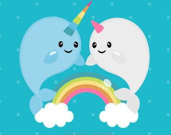 INSTANT DOWNLOAD - Narwhal Clipart and Vectors for personal and commercial use