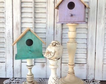 2 Bird Houses on Pedestals w Bird - 3 Pc Set - Antique Finish Bird Decor - Table Top