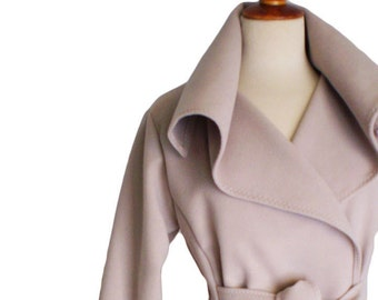 Winter  wrap jacket, Soft casual Camel Belt Coat Winter Jacket with pockets, beige blazer with  large collar