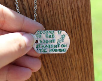 "Peter Pan ""Second Star to the Right and Straight on 'til Morning"" - Metal stamped literary quote necklace - JM Barrie"