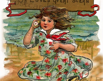 Soothing Sounds of the SEA, Vintage Postcard, Instant DIGITAL DOWNLOAD of girl with a shell at the beach
