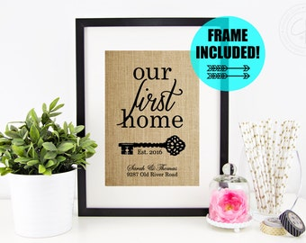 FRAME INCLUDED! Personalized House Warming Gift | Our First Home Sign | Housewarming Gift | Address Sign | Closing Gift | New House Gift