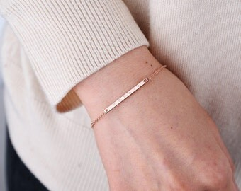 Bar bracelet, Personalized bar bracelet, name bracelet, rose gold bar bracelet, bridesmaid gift, Custom Name Bracelet