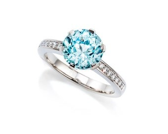 Size 6.25, Light blue Beryl solitaire engagement ring with diamonds, white gold, blue engagement, beryl solitaire, collector gemstone