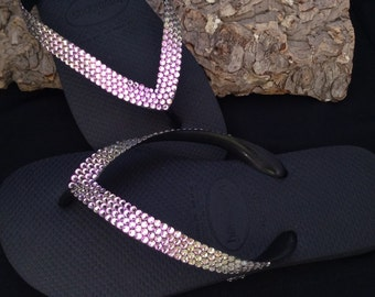 Havaianas flat or Cariris Wedge Heel Flip Flops Bling w/ Swarovski Vintage Vitrail Light Purple Silver Crystal Rhinestone Ladies Thong Shoes
