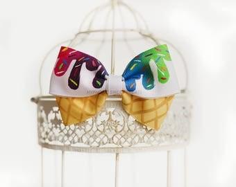 Rainbow Party, Ice Cream Party, First Birthday Girl, Toddler Hair Bow, Rainbow baby head band, Kawaii clip, Hand Painted hair bow for girls