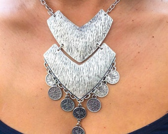 Arrow Statement Necklace, Handmade Jewellery, Boho, Silver Plated