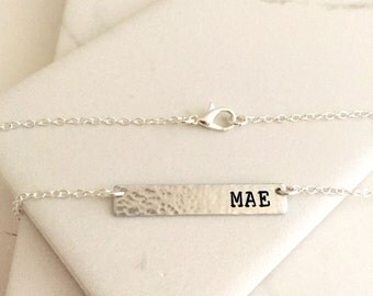 Bar Necklace, Initial Necklace, layered necklace, name plate, Everyday Jewelry, name tag, name necklace, hammered, silver,Rectangle Hammered