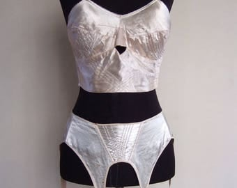 1940s satin bullet bra and garter belt set