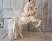 White carved wood horse statue painted distressed French Nordic all white sculpture handmade shabby lace tail roses decor anita spero design
