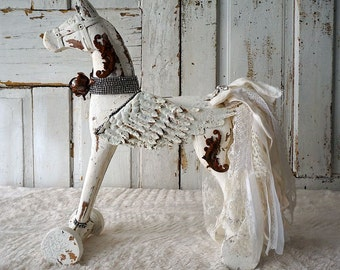 White painted horse ornate details wings French Nordic inspired carved shabby cottage chic embellished rhinestones decor anita spero design