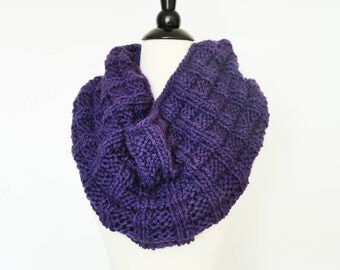 Knit Bulky Winter Infinity Scarf Cowl Snood in Rich Violet - Womens Accessories, Gifts For Her, Fashion Scarf, Mother's Day, Birthday