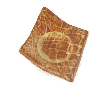 Tea Bag Holder - Chai Textured Diamond - Tea Trivet - cream and brown - lace texture