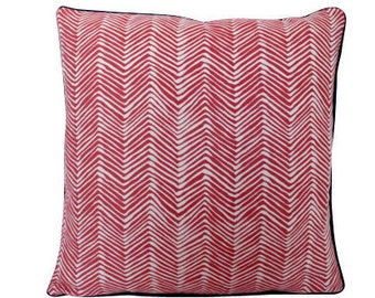 Petite Zig Zag Pillow Cover in Coral Shrimp by Alan Campbell with Navy Piping