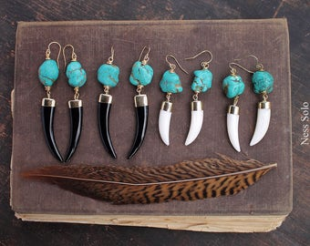 Boho earrings Turquoise earrings Boho jewelry Black White horn earrings Southwestern jewelry Bohemian earrings Western jewelry Boho chic