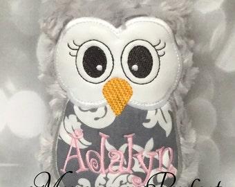 ADALYN - Already Personalized - Gray Swirl Plush Mini Owl Rattle