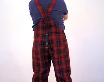 Woolrich Red Plaid Wool Overalls, Woolrich Overalls, Vintage Overalls, Red Plaid Overalls, Buffalo Plaid Overalls, Work Wear, L