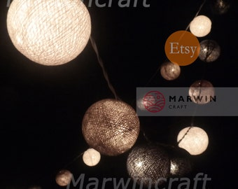 20 Cotton Balls Mixed Gray Clound Tone Fairy String Lights Party Patio Wedding Floor Table or Hanging Wall Gift Home Decor Living Bedroom