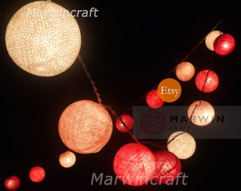 Battery Powered LED Bulbs 20 Mixed Pink Margenta Tone Cotton Balls Fairy String Lights Party Patio Wedding Floor Hanging Gift Home Decor 4m.