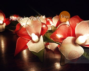 Battery or Plug 20 Red Orchid Flower Fairy String Lights Night Floral Party Patio Wedding Garland Gift Home Living Bedroom Holiday Decor 3.5