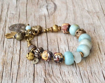Bohemian Amazonite bracelet, boho jewelry, beaded yoga bracelet, gemstone bracelet, gift for her, Valentines day, ethnic bracelet, OOAK