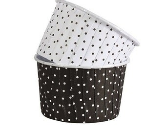 Black & White Polka Dot Paper Cupcake Liners, Baking Cases, Cups, Treat Containers 24 ct.