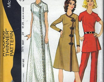 """Vintage 1971 McCall's 3061 Retro Dress or Tunic & Pants  A Pounds Thinner Pattern Sewing Pattern Size 16 1/2 Bust 39"""""""