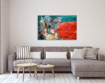 Red and green abstract photography print gallery wrap on canvas - Fine art photography print on canvas - Wall hanging canvas photography