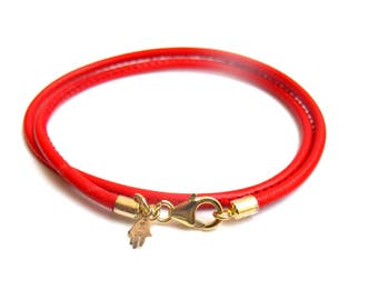 14k solid gold red wrap leather bracelet for good luck and protection hamsa kabbalah jewelry