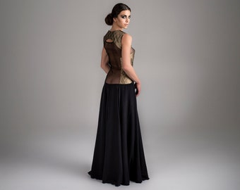 TakeOff - quilted, organza and sand washed natural silk, dress and top, one of a kind, haute couture