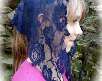 Navy Blue Lace Mantilla, PO#Zbl01