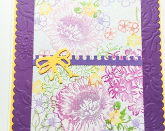 Handmade all occasion flower cards - bright floral - purple and yellow - embossed - blank inside